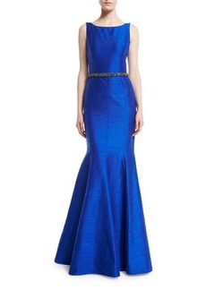 David Meister Sleeveless Beaded-Waist Mermaid Gown  Sleeveless Beaded-Waist Mermaid Gown