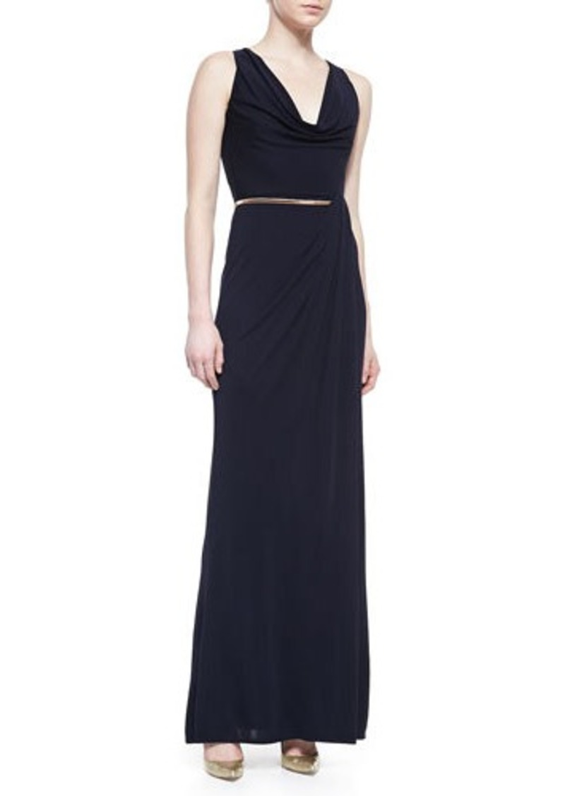 David Meister Sleeveless Cowl-Neck Belted Gown, Navy