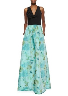 David Meister Sleeveless Cowl Neck Gown with Floral Skirt, Black/Turquoise/Green