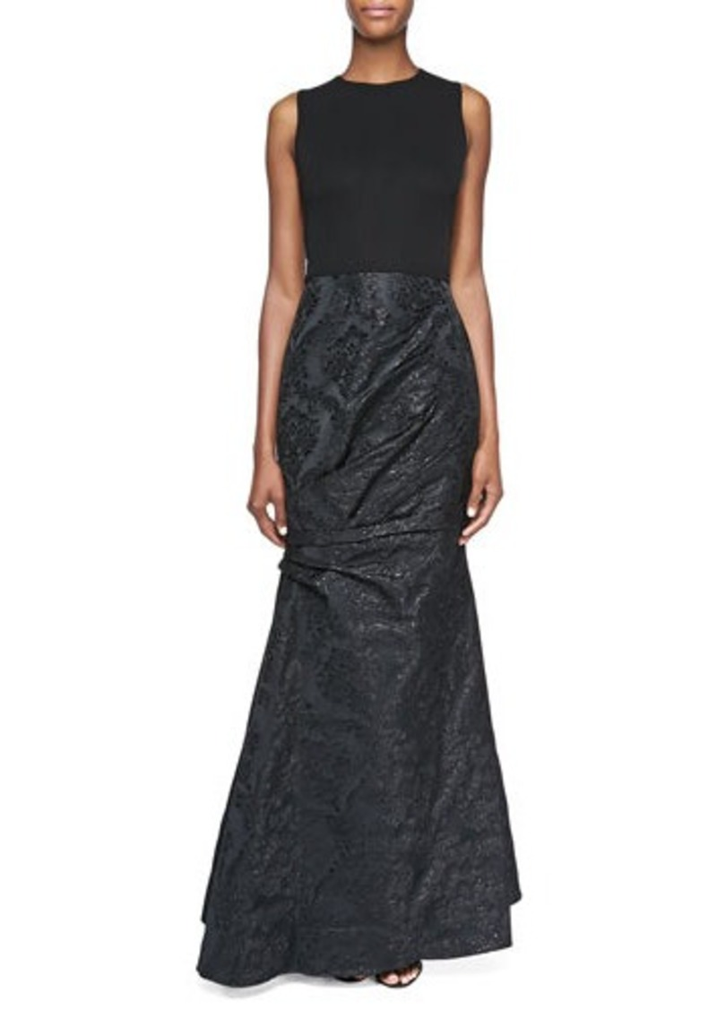 David Meister Sleeveless Damask Gown, Black