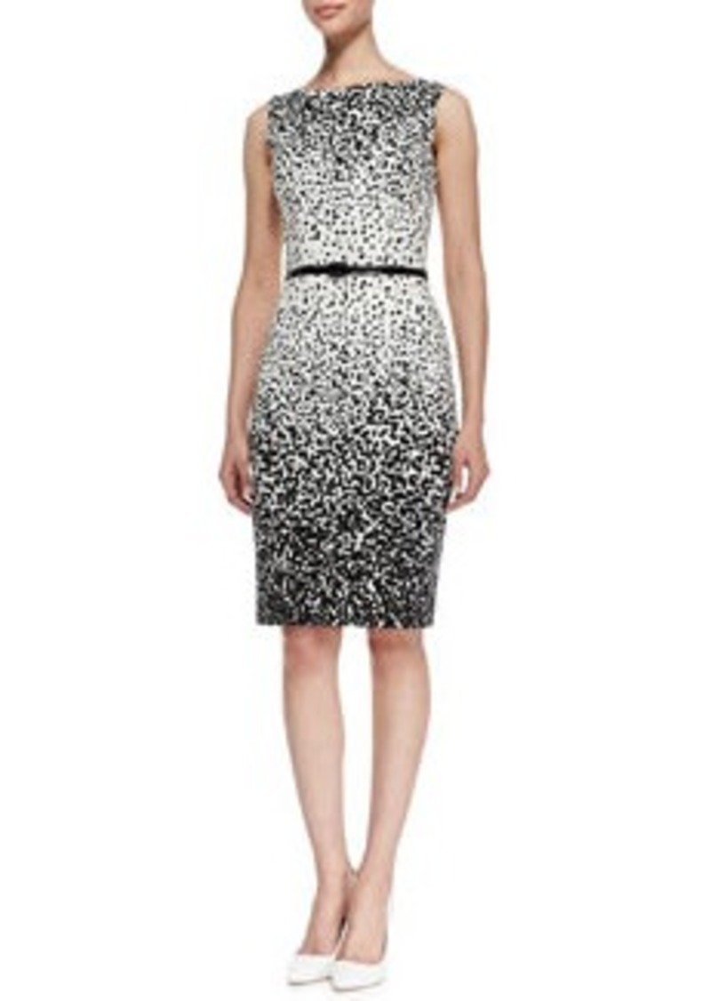 David Meister Sleeveless Dot-Print Belted Sheath Dress, Ivory/Black