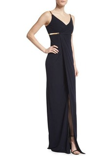 David Meister Sleeveless Faux-Wrap Column Dress  Sleeveless Faux-Wrap Column Dress