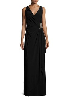 David Meister Sleeveless Faux-Wrap Draped Dress W/ Beaded Side  Sleeveless Faux-Wrap Draped Dress W/ Beaded Side