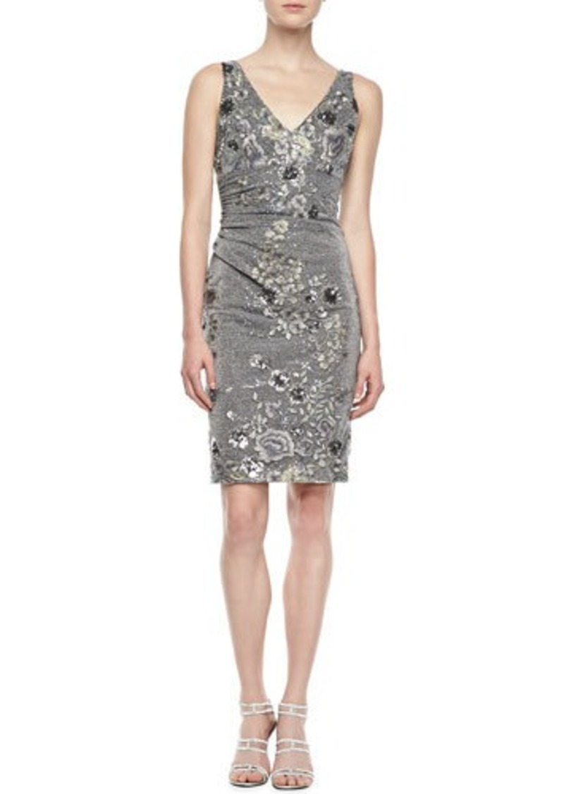 David meister sleeveless floral embroidered