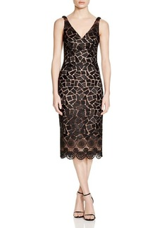David Meister Sleeveless Geo Lace Dress