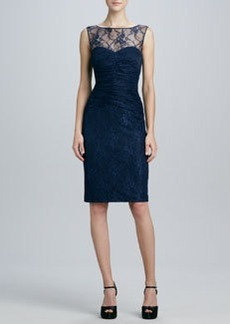 David Meister Sleeveless Lace Illusion-Neck Cocktail Dress