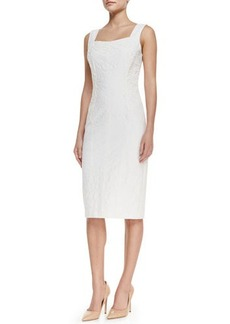 David Meister Sleeveless Lace-Panel Cocktail Dress, White