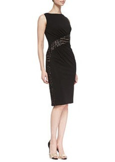 David Meister Sleeveless Lace Waist Cocktail Dress, Black