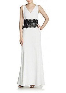 David Meister Sleeveless Lace-Waist Gown