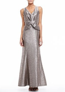 David Meister Sleeveless Long Jacquard Gown