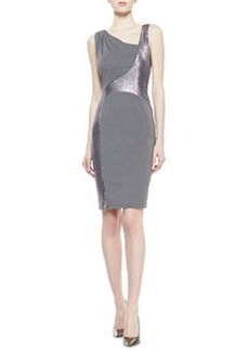 David Meister Sleeveless Metallic Swirl Dress, Gray/Silver