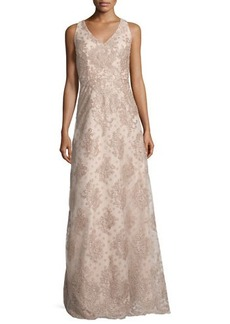 David Meister Sleeveless Polka Dot Lace Gown  Sleeveless Polka Dot Lace Gown
