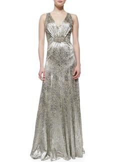 David Meister Sleeveless Sequin Brooch-Waist Gown