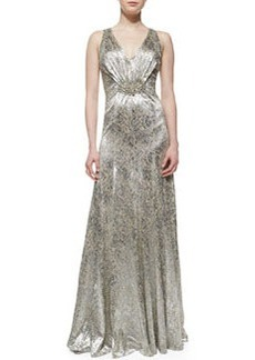 David Meister Sleeveless Sequin Brooch-Waist Gown