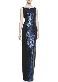 David Meister Sleeveless Sequined Panel Gown