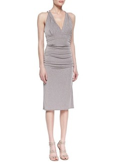 David Meister Sleeveless Shimmering Crisscross-Back Cocktail Dress, Taupe