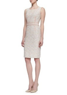 David Meister Sleeveless Square-Neck Tweed Dress, Pink/Multicolor