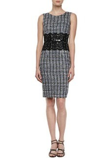 David Meister Sleeveless Tweed Lace-Waist Dress