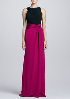 David Meister Sleeveless Twisted Colorblock Gown