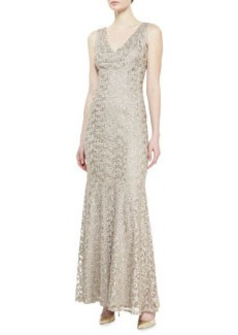 David Meister Sleeveless V-Neck Embroidered Gown, Taupe