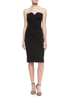 David Meister Strapless Beaded-Back Cocktail Dress, Black