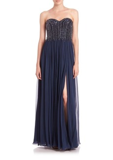 David Meister Strapless Beaded-Bodice Chiffon Gown