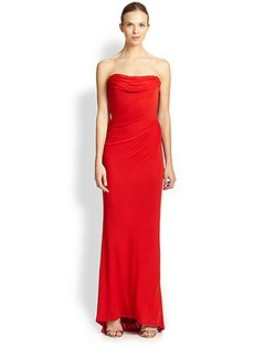 David Meister Strapless Drape Gown