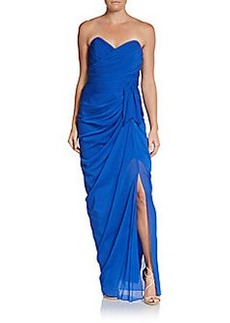 David Meister Strapless Draped Silk Chiffon Slit Gown