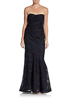 David Meister Strapless Jacquard Trumpet Gown