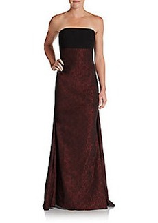 David Meister Strapless Metallic-Brocade Gown