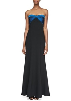 David Meister Strapless Ruched-Bodice Gown