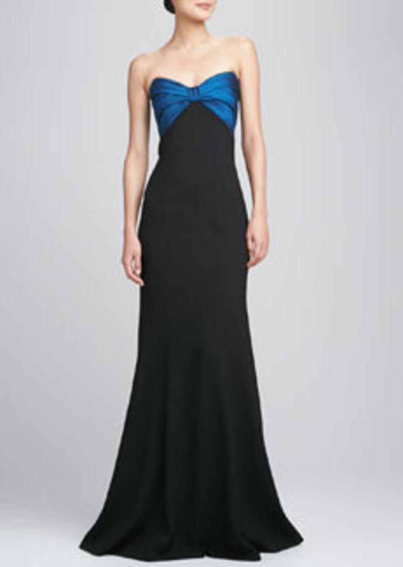 David Meister Strapless Ruched Bodice Gown
