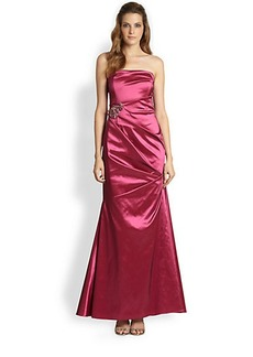 David Meister Strapless Satin Gown