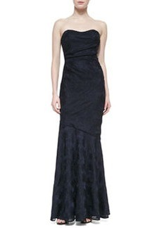 David Meister Strapless Sweetheart Ruched Gown, Navy/Black