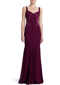 David Meister Sweetheart Satin-Panel Gown