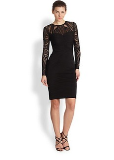 David Meister Tattoo Lace & Jersey Cocktail Dress