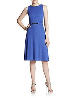 David Meister Textured Fit-And-Flare Dress