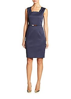 David Meister Textured Square Neck Dress