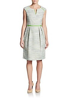David Meister Tweed Cap Sleeve Dress