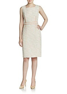 David Meister Tweed Squareneck Sheath Dress