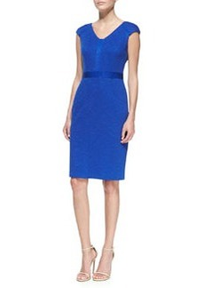 David Meister V-Neck Tweed Sheath Dress, Royal