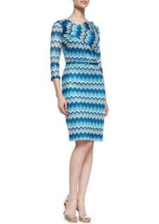 David Meister Zigzag 3/4-Sleeve Dress
