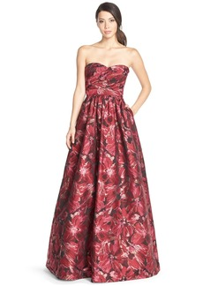 David Meister Floral Jacquard Ballgown
