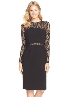 David Meister Lace & Crepe Popover Dress