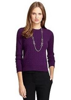 Crewneck Cable Knit Cashmere Sweater