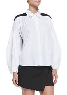 Robert Rodriguez Poplin & Silk Combo Illusion Long-Sleeve Shirt