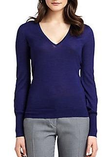 Derek Lam Texture Block Cashmere & Silk V-Neck Sweater