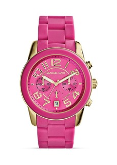 Michael Kors Pink Silicone and Gold Tone Mercer Watch, 41.5mm