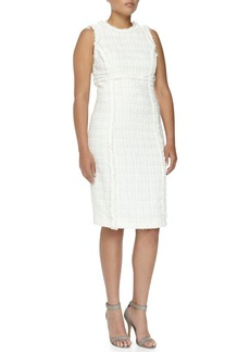 Michael Kors Shimmer Tweed Sheath Dress, Optic White, Women's