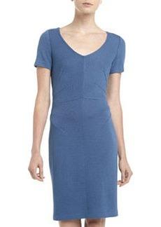 St. John Santana Knit Seam-Waist V-Neck Dress, Bristol Blue